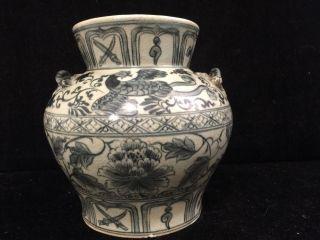Antique Chinese Vase Yuan / Ming Style Blue & White Porcelain Vase Jar photo