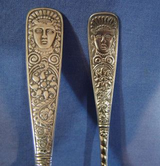 2 Antique Silverplate Assyrian Head C1886 Spoon & Knife Spread Rogers & Bros photo