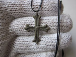 Very Rare Ancient Byzantine Engraving Bronze Cross photo