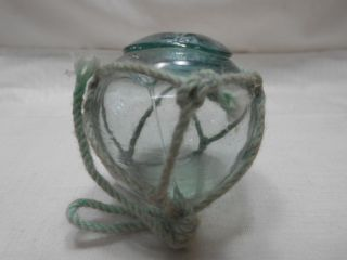 Vintage Glass Fishing Float Blue/green In Net Fine Spindle Mark 21 2