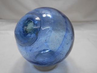Vintage Glass Fishing Float Blue With Blue Swirls 3.  25