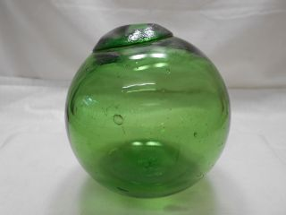 Vintage Glass Fishing Float Emerald Green Japanese 4