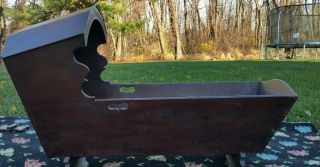 Vintage Large Handmade Wooden Cradle photo