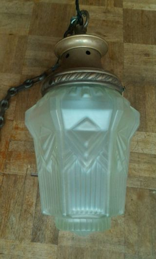 Art Deco Skyscraper Frosted Glass Light With Gallery And Hanging Chain photo