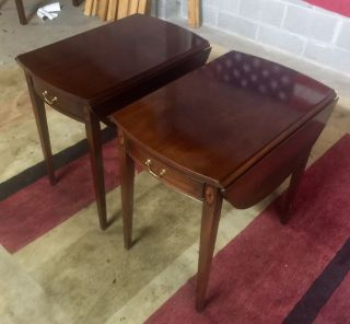 Pair Solid Mahogany Hepplewhite Pembroke Drop Leaf End Tables By Hickory Chair photo