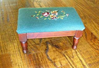 Vintage Foot Stool - Handmade Needle Point; 1940s; 14
