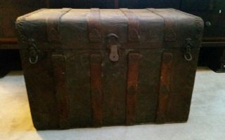 Antique Metal And Wood Steamer Trunk Treasure Chest With Detail Detail Detail photo
