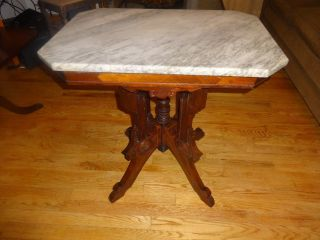 Antique Parlor Table With Marble Top photo