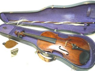 Salzard Vintage/antique Full Size 4/4 Scale French Violin W/ Old Bausch Bow photo