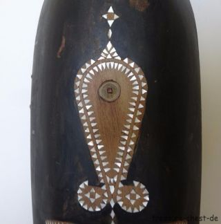 Large Carved Wooden Tribal Mask With Inlays,  Brass,  Wood,  Mother Of Pearl,  Shell photo