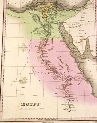 Orig Antique Map 1827 Egypt Nile River Many Small Towns Cairo Sinai Arabia photo