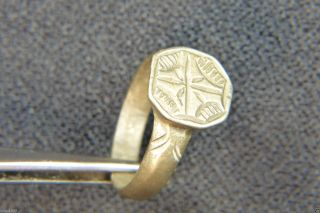 , Finely Engraved Ancient Early Christian Byzantine Bronze Ring photo