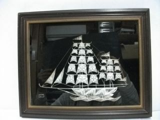 Relief Of A Sailboat Of Silver Wire Workmanship.  Silver925 Filigree Ship photo