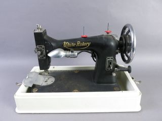 Antique Vintage Early 1900s White Rotary Sewing Machine 813 - 2 W/ Case photo