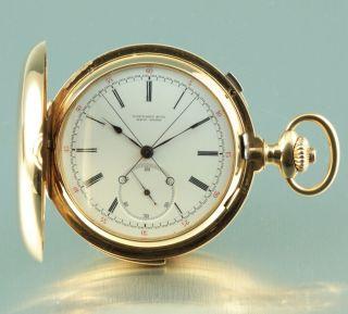 Tiffany & Co Geneva Minute Repeater Split Second 1888 Heavy 18k Gold Pocket Watc photo
