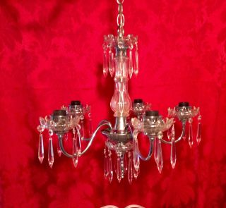 Vtg Petite Chrome 5 Arm 5 Light Crystal Chandelier W/ 45 Crystal Prisms 18x20