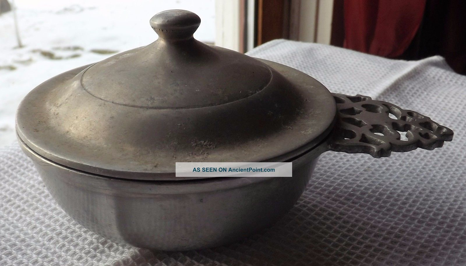 Antique 1800 ' S Pewter Porringer W/ Lid Rare By Stede Hearth Ware photo