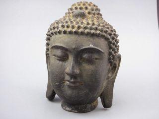 Antique Chinese Iron Bronze Buddha Head Statue photo