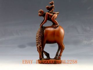 Chinese Wood Carved Hand - Carved Statue - - Monkey On The Horse马上封侯 photo