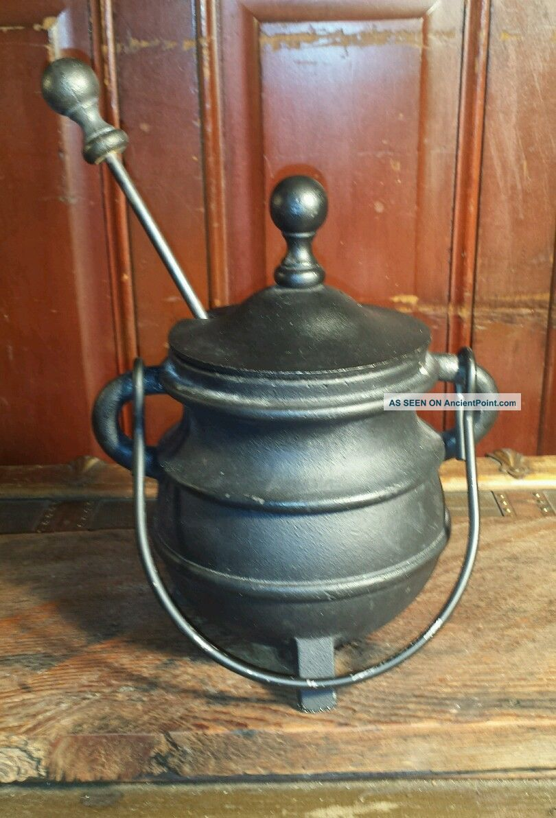 Antique Cast Iron Fire Starter Cauldron Smudge Pot Footed Kettle & Pumice Wand Hearth Ware photo