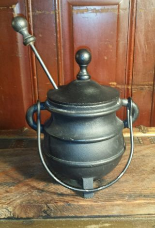 Antique Cast Iron Fire Starter Cauldron Smudge Pot Footed Kettle & Pumice Wand photo