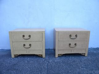 Mid - Century Hollywood Regency Nightstands / End Tables By White 5980 photo