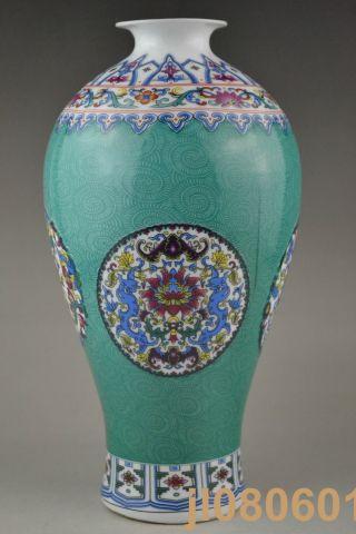 9.  45 Inch China Handwork Porcelain Carve Flower Totem Big Vase photo