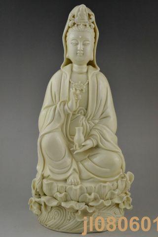 China Handwork Jingdezhen Porcelain Carve Kwan - Yin Big Statue photo