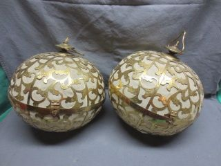 2 Antique Mcm Brass Ball Swag Lamp Light Paper Diffuser Oriental photo