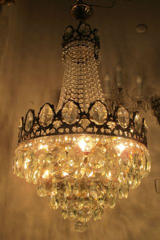 Antique Vnt French Huge Basket Style Crystal Chandelier Lamp 1940 ' S 16in Dmtr photo