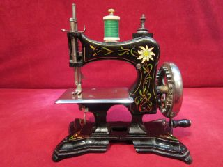 Rare Toy Sewing Machine Casige C/1904 W/german Edelweiss Flower photo