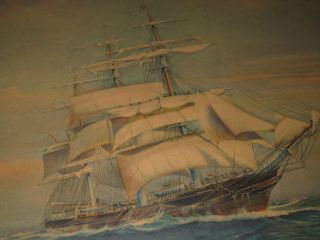Vintage Artograph Framed Art Puffy Print Clipper Ship