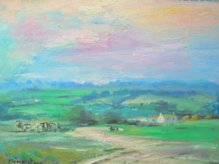 Stunning Colors Southern Ireland Landscape Oil Painting Listed American photo