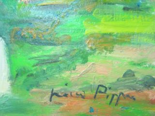 Stunning Colors Connemara Irish Cottage Oil Painting Listed American photo