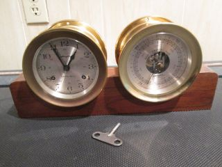Nautical Brass Airguide Ships Bell Clock & Barometer W/ Key & Stand W.  Germany photo
