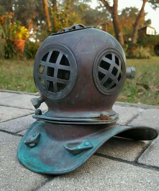 Vintage Copper Brass Scuba Diving Helmet Desk Accessory Nautical Decor Lamp photo