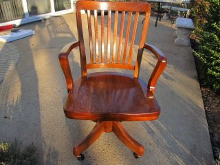 Vintage Tiger Oak Lawyers / Bankers Office Chair Professional Restored photo