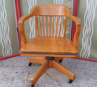 Antique Solid Oak Wood Swivel Chair Bankers Barrel Office Desk photo