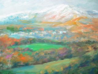 Stunning Colors Irish Landscape Oil Painting Listed American photo