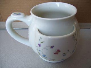 Vintage Tea Cup Mug With Tea Bag Holder Pocket Floral Butterfly Design photo