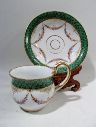 Antique Meissen Germany Floral Swags Swan Handle Cup & Saucer photo