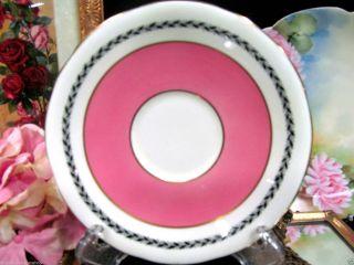 Aynsley Tea Cup And Saucer Low Doris Pink & Gold Gilt Teacup photo