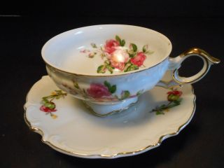 Vtg Bone China Cup & Saucer W/ Roses By Ucagco Of Japan Cup & Saucer photo