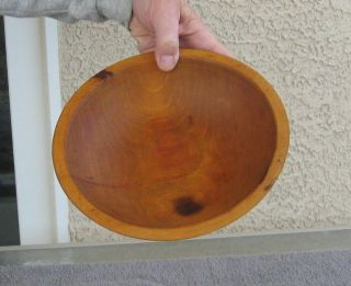 Antique Rustic Wooden Munising Dough Bowl Birdseye Maple 9