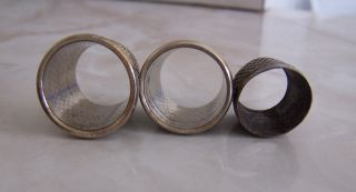 3 Antique Steel Metal Tailor ' S Thimbles photo