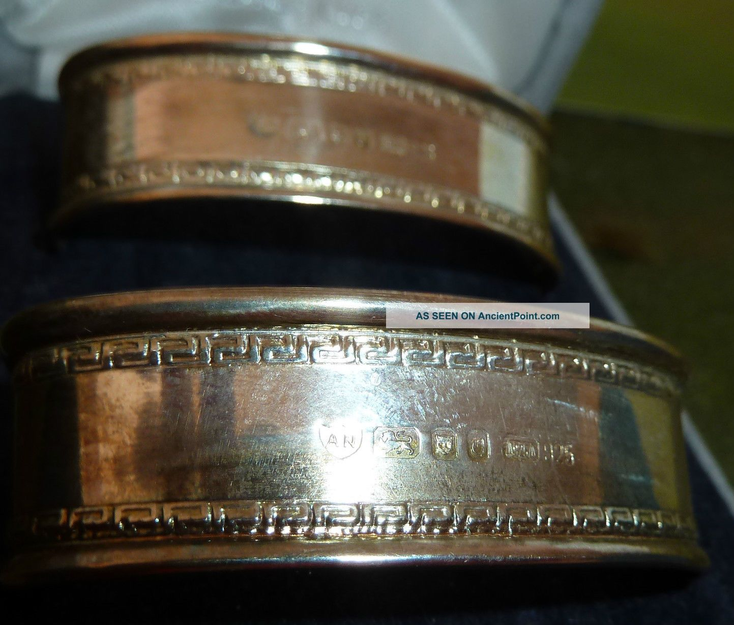 Gorgeous Solid Silver (full Hallmarks) Napkin Rings,  Oval Shape. Napkin Rings & Clips photo