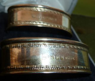 Gorgeous Solid Silver (full Hallmarks) Napkin Rings,  Oval Shape. photo