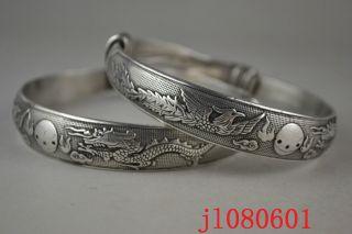 Collectible China Handwork Tibet Silver Carving Dragon Phoenix Pair Bracelet photo