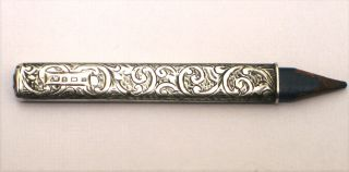 Antique Silver Hallmarked Pencil Holder Birmingham 1910 Maker F.  W photo