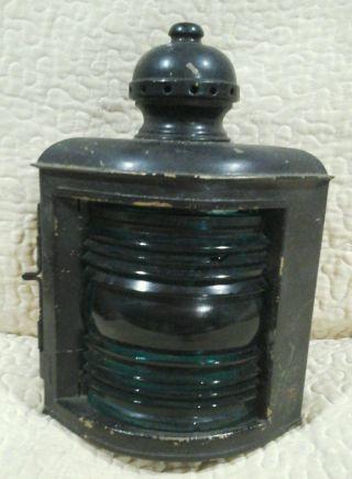 Antique Brass Maritime Nautical Starboard Corner Lamp Light Lantern National photo